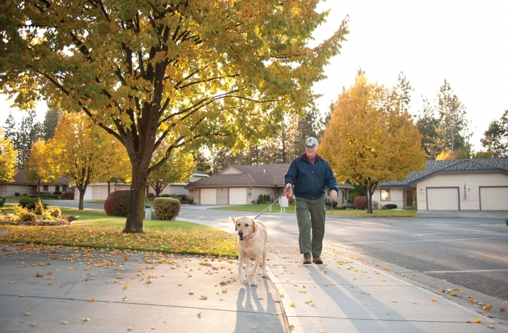 Rockwood Retirement Communities Spokane Older Gentleman Staying Active Walking His Dog